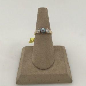 Jewelry - 10K Yellow Gold Tahitian Pearl & Diamond Ring